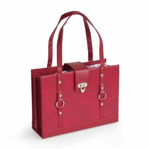 Texture Faux Leather File Organizer Tote Burgundy Red Color