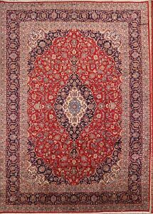 Vintage Large Traditional Floral Red 10x14 Kaashan Persian Oriental Area Rug