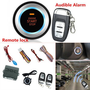 Car Alarm System Security Push Button Remote Engine Start Lock led Sensor Light