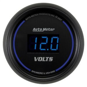 Autometer 6993 Cobalt Digital Voltmeter Gauge Black Blue Led 2 1 16