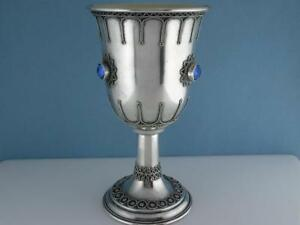 Vintage Sterling Silver Jeweled Kiddush Cup Goblet Blue Stones Stanetzky Judaica