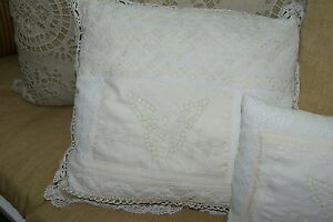 3 Antique 80 Yrs Handmade Lace Embroidery Made Into 3 New Quilted Silk Pillows