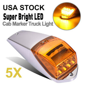 5x 17led Amber yellow Cab Roof Clearance Tail Light Marker Chrome Base For Truck
