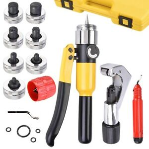 Hydraulic Tube Expander Swaging Pipe Expanding Tool 7 head Kit Hardened Steel