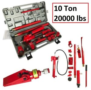 Portable Hydraulic Jack Body Frame Repair Kit Heavy Duty Auto Truck Lifting 10t