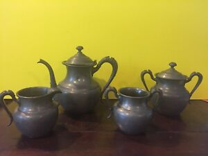 Estate Antique Silver Coffee Pot Sugar Creamer Set American Silver Plate Co X194