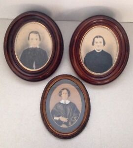 Lot Of 3 Reproduction Antique Style Print Portraits In Wooden Oval Frames