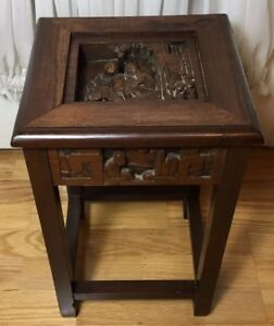 Antique Chinese Exquisite Detailed Hand Made And Carved Wood Stand Table