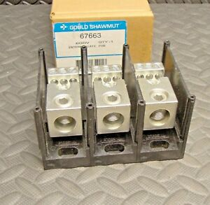 New Shawmut Gould 67663 Power Distribution Block 600 Volt 3 Pole Mersen Pdb