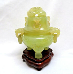 Chinese Jade Carved Beasts 5 Rings Tripod Incense Burner Censer Custom Stand