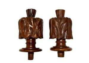 Antique French Pair Of Carved And Turned Wood Curtain Rod Bed Newel Post Finials