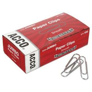 Acco Jumbo Steel Wire Silver Smooth Economy Paper Clip 1000 paper Clips 1