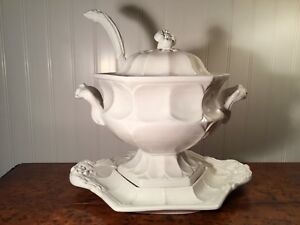 Red Cliff Ironstone Heirloom Pattern Soup Tureen W Lid Under Platter