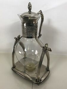 Vintage Silver Plate Tilting Coffee Server Warmer Glass Pot Carafe Stand Ct18