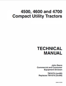 John Deere 4500 4600 And 4700 Compact Utility Tractor Technical Manual Cd