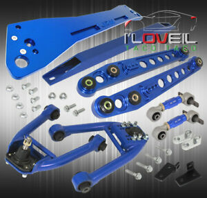 96 97 98 Civic Blue Front Rear Camber Kit Blue Lower Aluminum Tie Subframe Bar