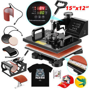 5 In 1 Transfer Sublimation T shirt Mug Hat Plate Cap Heat Press Machine 12 x15