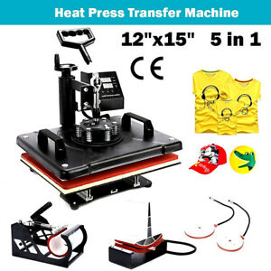 5 In 1 Heat Press Machine Transfer Sublimation T shirt Mug Plate Cap Hat Print