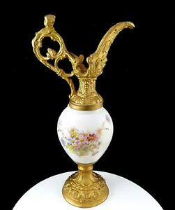 Victorian Era Hand Painted Floral Gold Metal Figural Spout 13 1 8 Ewer