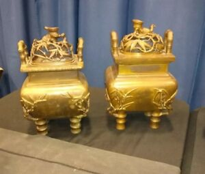 Pair Large Antique Bronze Censors Or Incense Burners Bamboo Motif