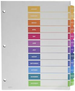 Avery Customizable Table Of Contents Dividers 12 tab Set Multicolor 111