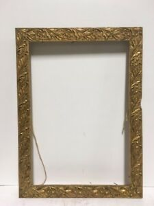 1930 S American Art Nouveau Carved Gold Gilded Picture Frame Fits 9 X13 Lot 2