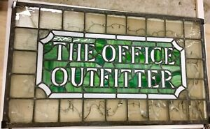 Antique Vintage Stained Glass The Office Outfitter Early Advertising Piece Nyc