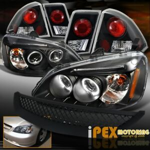 For 01 03 Honda Civic 4dr Halo Projector Led Headlight Black Tail Light grill