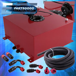 Red Aluminum 10 Gallon Fuel Tank W Black Cap Braided Nylon Oil Feed Line