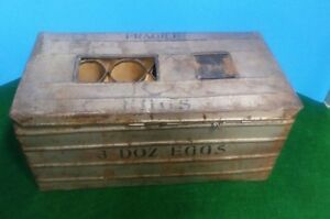 Antique Vintage Metal Shipping Box Crate For 3 Dozen Live Chicken Eggs