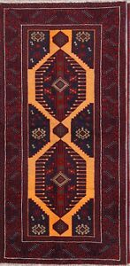 Vintage Excellent Geometric Tribal Runner 3x6 Balouch Persian Oriental Rug