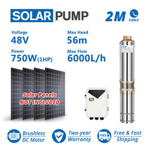 4 1hp Dc Solar Submersible Bore Pump Water Supply 6t h 56m Garden Irrigation