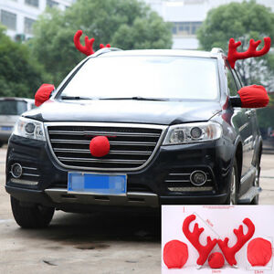5x Antlers Nose Mirrors Cover Reindeer Auto Car Costume Christmas Decoration Red