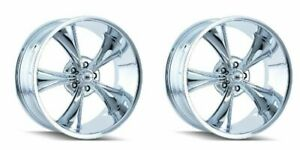 Pair 2 20 Ridler 695 Chrome Vintage Wheels 20x10 5x4 75 0mm 5 Lug Classic Rims