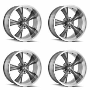 Set 4 22 Ridler 695 Grey Machined Lip Wheels 22x9 5x5 0mm Jeep Chevy 5 Lug Rims