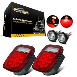 Universal Truck Boat 39 Led Stud Mount Stop Turn Tail License Marker Light X2