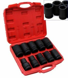 10pc 1 Inch Standard Drive Dr Large Air Black Impact Socket Wrench Tool Sae New