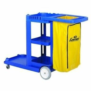 Continental Janitorial Cart 25 Gal Capacity 8 3 Caster Plastic 184bl