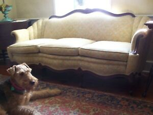 Victorian Wood Sofa Beautifully Reupholstered With High End Fabric
