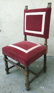 Antique Vintage Barley Twist Accent Chair French Spanish Style