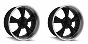 Pair 2 17 Ridler 695 Black Machined Lip Rims 17x8 5x4 75 0mm Buick Chevy 5 Lug