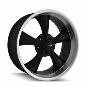 17 695 Black Machined Lip Vintage 17x8 5x4 75 0mm Chevy Buick 5 Lug Classic Rim
