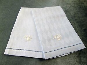 Pair Blue Harlequin Textured Towels White M R L Monograms Hemstitched Lovely