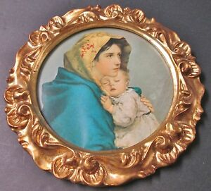Vintage Florentine Carved Gilded Wooden Frame Madonna Child Made In Italy
