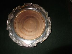 Reed Barton King Francis Vintage 1695 Silver Plate Wine Coaster With Wood Line