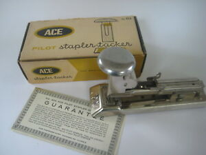 Vtg Ace Pilot Stapler Tacker 404 Chrome Retro Office Engraved Ma Massachusetts