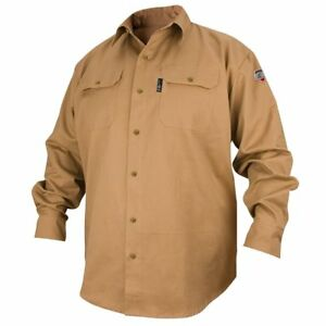 Black Stallion Fs7 khk Khaki Flame Resistant Long Sleeve Woven Shirt