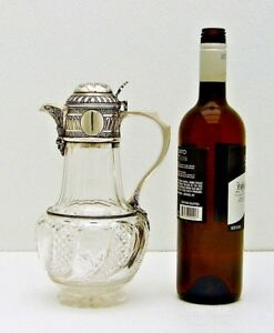 English Sterling Silver And Cut Glass Claret Pitcher Jug With Hallmarks C E 1884