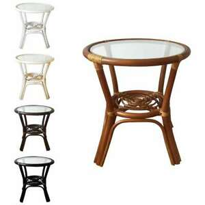 Natural Rattan Wicker Handmade Round Small Coffee Table With Glass Top 5 Colors