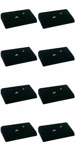 8 Sets 18 Ring Tray Black Velvet Jewelry Showcase Display Box